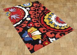 Alliyah Handmade Black New Zealand Blend Wool Rug (8'x10') - Thumbnail 1