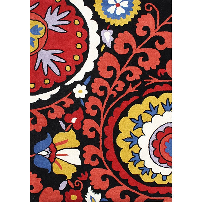 Alliyah Handmade Black New Zealand Blend Wool Rug (8'x10')