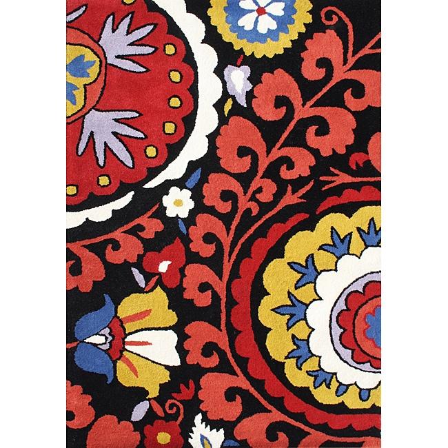 Alliyah Handmade Black New Zealand Blend Wool Rug (5'x8')
