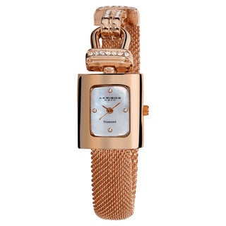 Akribos XXIV Women's Rose-Tone Mesh Wraparound Quartz Watch with FREE GIFT