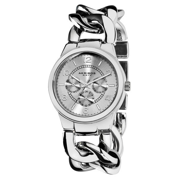 Akribos XXIV Women's Stainless Steel Twist Chain Quartz Multifunction Silver-Tone Watch with FREE GIFT