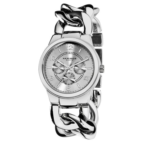 Akribos XXIV Women's Stainless Steel Twist Chain Quartz Multifunction Silver-Tone Watch