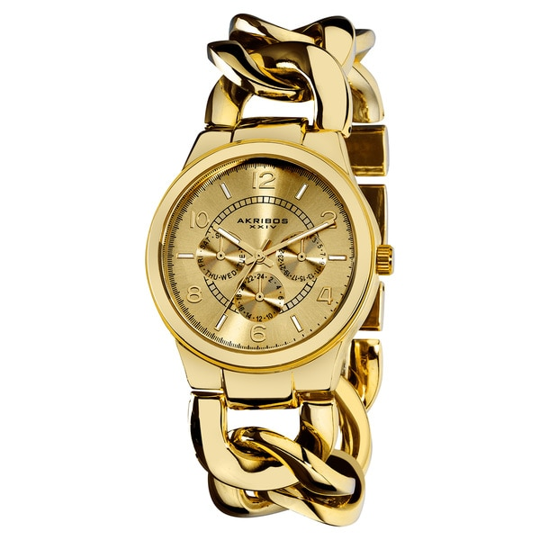 Akribos XXIV Women's Twist-Chain Quartz Multifunction Gold-Tone Watch with FREE Bangle