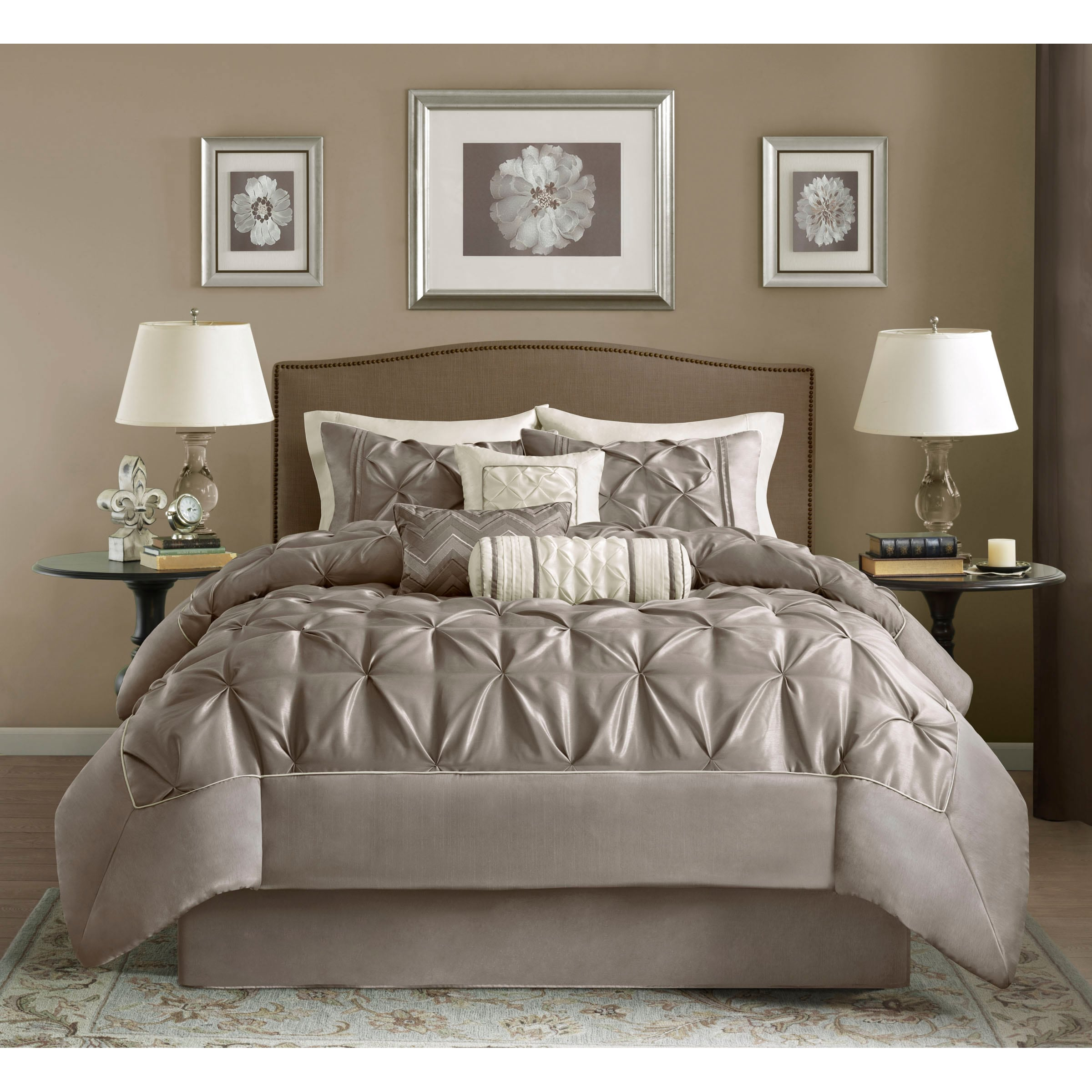 pin bnf ruffle serent beddings matte satin bedspread set pinterest comforter