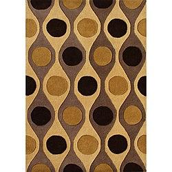 Alliyah Handmade' Brown New Zealand Blend Wool Rug (5' x 8')