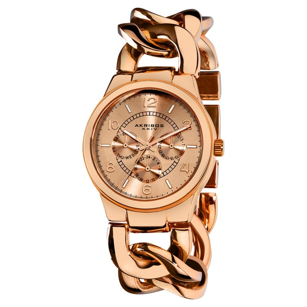 Akribos XXIV Women's Water-Resistant Twist-Chain Quartz Multifunction Rose-Tone Watch