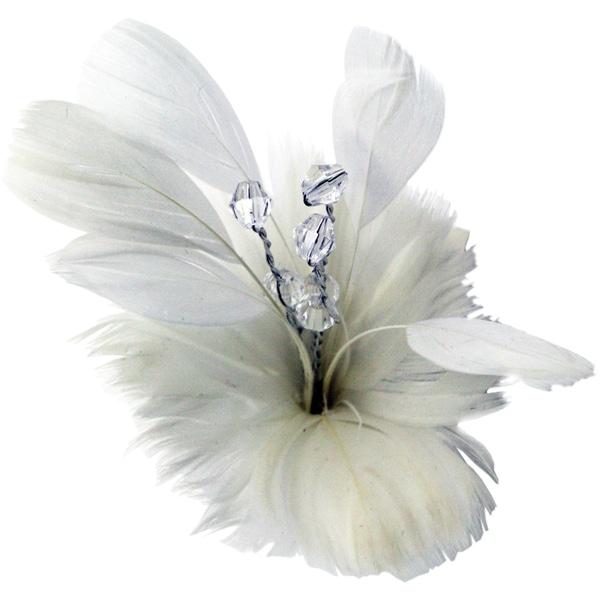 Laliberi Quick Clip Flowers 1/Pkg-White Feather Bloom