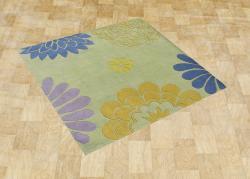 Alliyah Handmade Bright Lime Green New Zealand Blend Wool Rug (6' Square)