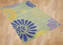 Alliyah Handmade Bright Lime Green New Zealand Blend Wool Rug (5' x 8')