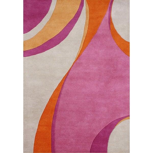 Alliyah Handmade Red/ Orange New Zealand Blend Wool Rug (5' x 8')