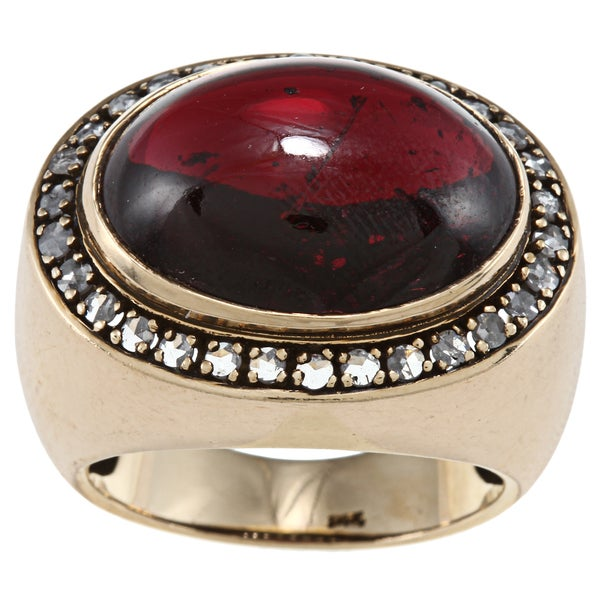 Pre-owned 14k Gold Garnet and 3/5ct TDW Diamond Estate Ring (I-J, SI1-SI2)