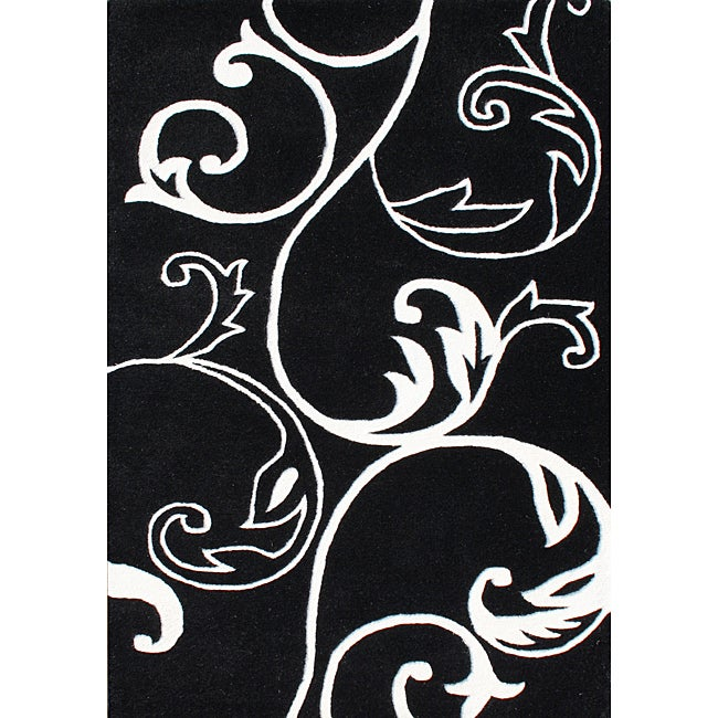 Hand-Tufted Floridly Black Floral Wool Rug (5' x 8')