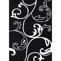 Hand-Tufted Floridly Black Floral Wool Rug (5' x 8') - 5' x 8'