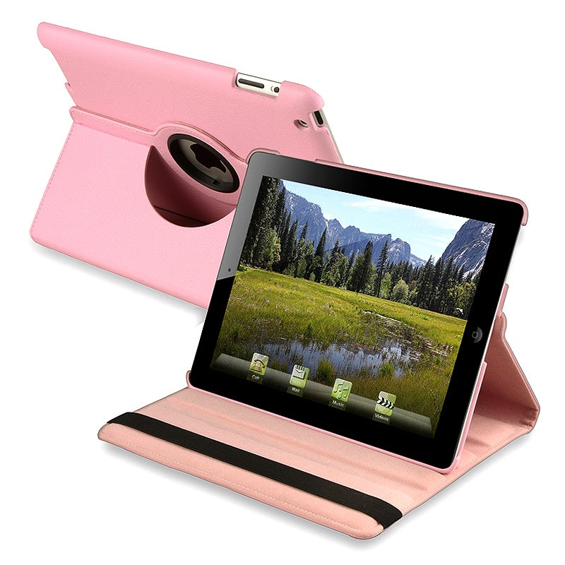 BasAcc Pink 360-degree Swivel Leather Case for Apple iPad 2 - Thumbnail 0