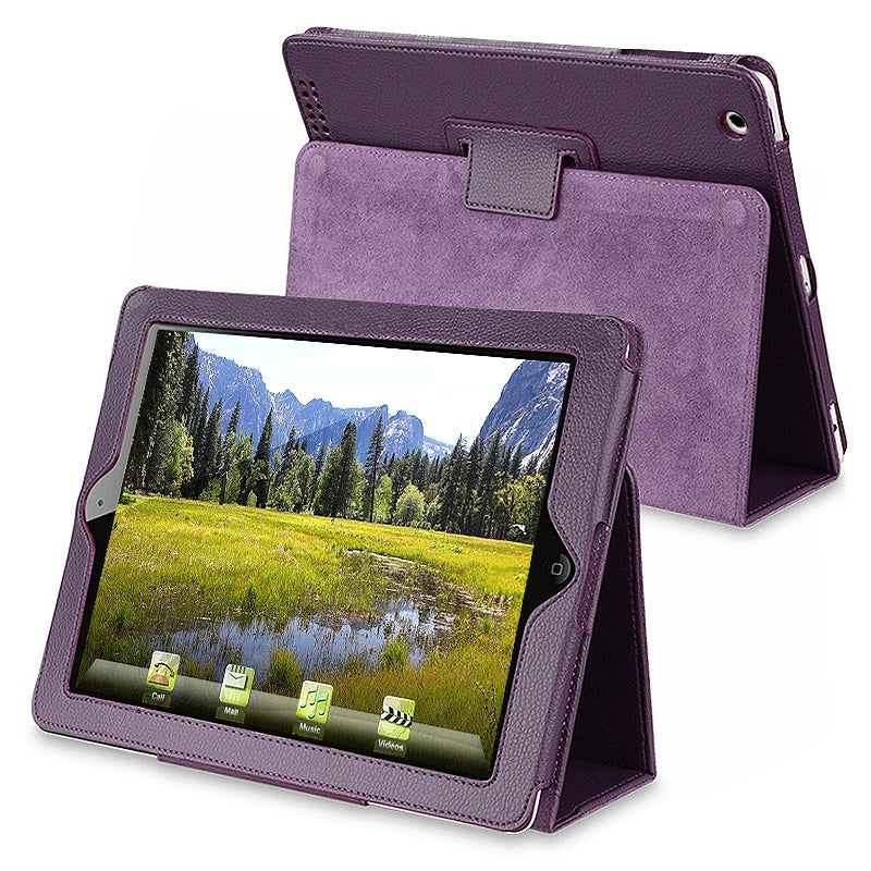 INSTEN Purple Leather Tablet Case Cover with Stand for Apple iPad 2