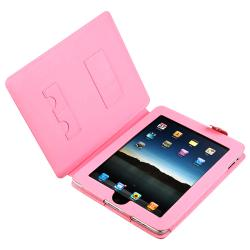 INSTEN Pink Leather Tablet Case Cover with Stand for Apple iPad 1