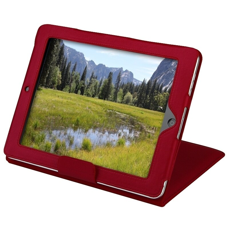 INSTEN Red Leather Tablet Case Cover with Stand for Apple iPad 1