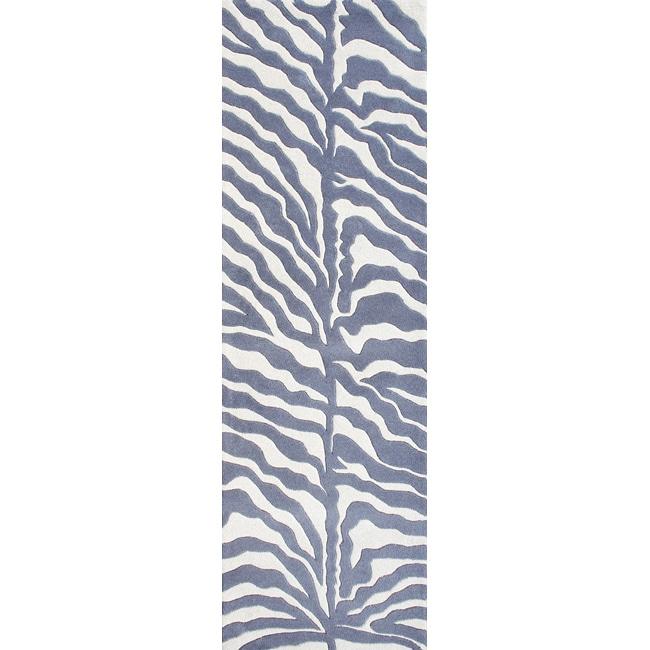 Alliyah Rugs Handmade Grey New Zealand Blend Wool Area Rug (2'6 x 8')