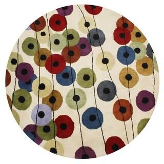 Alliyah Handmade Yellow, Brown, Rust, and Blue New Zealand Blend Wool Rug (6' Round)