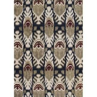 Alliyah Handmade IKAT' Black New Zealand Blend Wool/ Viscose Silk Rug (5' x 8')