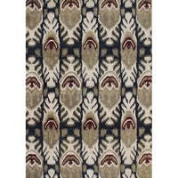Alliyah Handmade IKAT' Black New Zealand Blend Wool/ Viscose Silk Rug (5' x 8')