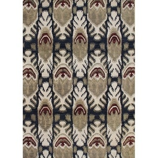 Alliyah Handmade IKAT' Black New Zealand Blend Wool/ Viscose Silk Rug - 5' x 8'