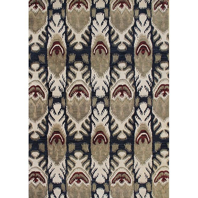 Alliyah Handmade IKAT' Black New Zealand Blend Wool/ Viscose Silk Rug (8' x 10')