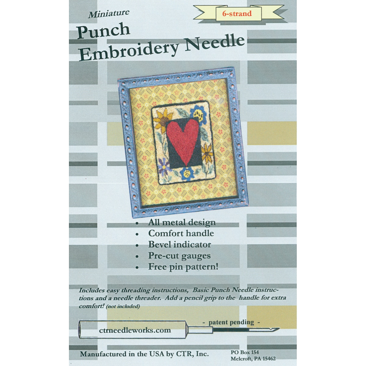Miniature Punch Embroidery Needle-Black 6-Strand