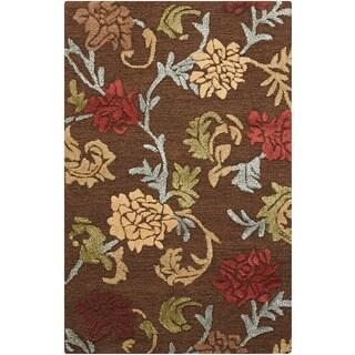 Nourison Hand-tufted Sunburst Brown Rug (5'3 x 7'5)
