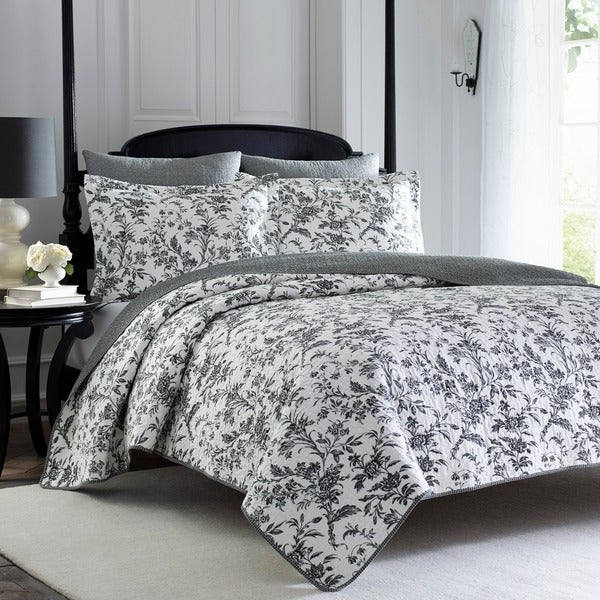 Laura Ashley Amberley Grey Cotton 3-piece Quilt Set - On Sale ... : overstock quilts king - Adamdwight.com