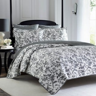 Laura Ashley Amberley Black Floral Cotton 3-piece Quilt Set