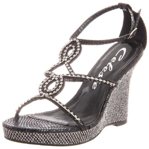 Celeste Women's 'Marisa-03' Black Jeweled Wedge Sandals