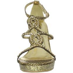 Celeste Women's 'Marisa-03' Gold Jeweled Wedge Sandals