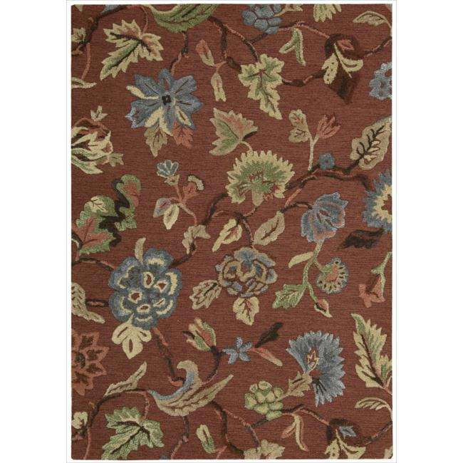 Nourison Hand-tufted Sunburst Red Rug (3'6 x 5'6) - Thumbnail 0