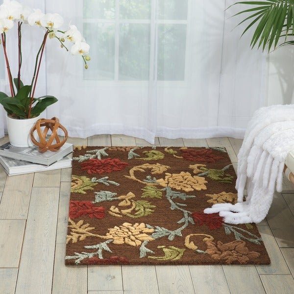 "Nourison Hand-tufted Sunburst Brown Rug - 3'6"" x 5'6"""