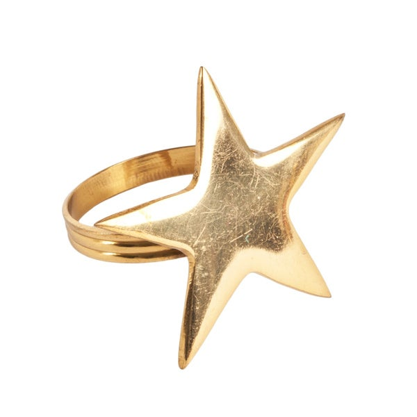 Saro Decorative Metal Star Napkin Rings (Set of 4)