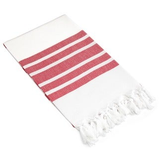 Authentic Pestemal Fouta Red and White Bold Stripe Turkish Cotton Bath/ Beach Towel