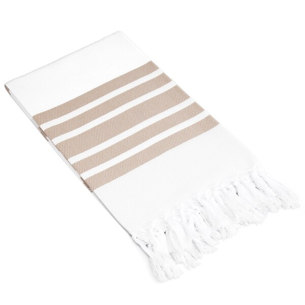 Authentic Pestemal Fouta Striped Tan and White Turkish Cotton Bath/ Beach Towel