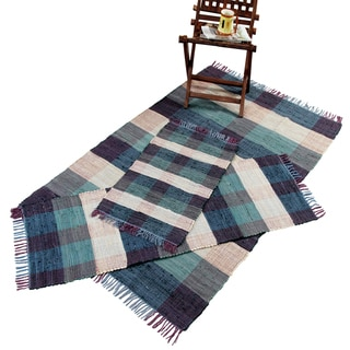 Check Chindi Cotton Blue 3-Piece Accent Rug Set