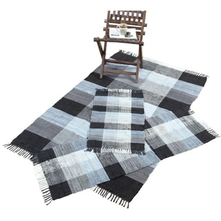 Check Chindi Cotton Black 3-Piece Accent Rug Set