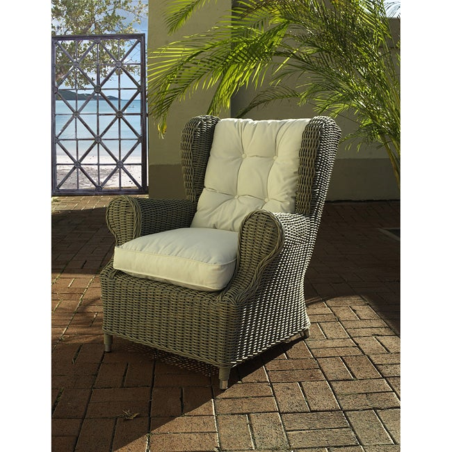 Padmas Plantation Outdoor Kubu White Cushion Wing Chair, ...