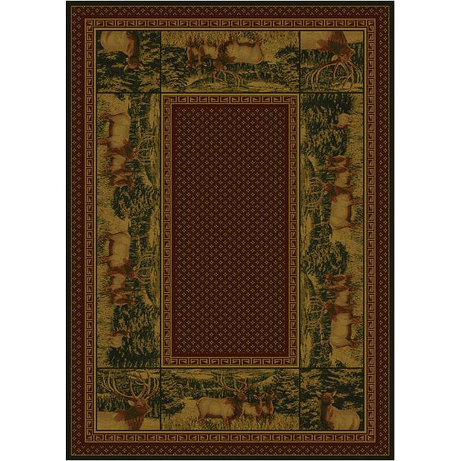 Rustic Lodge Country Elk Area Rug (7'10 x 10'6) - Thumbnail 0