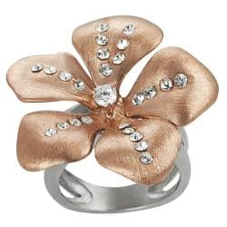 Journee Collection Coppertone Steel White Cubic Zirconia Flower Ring
