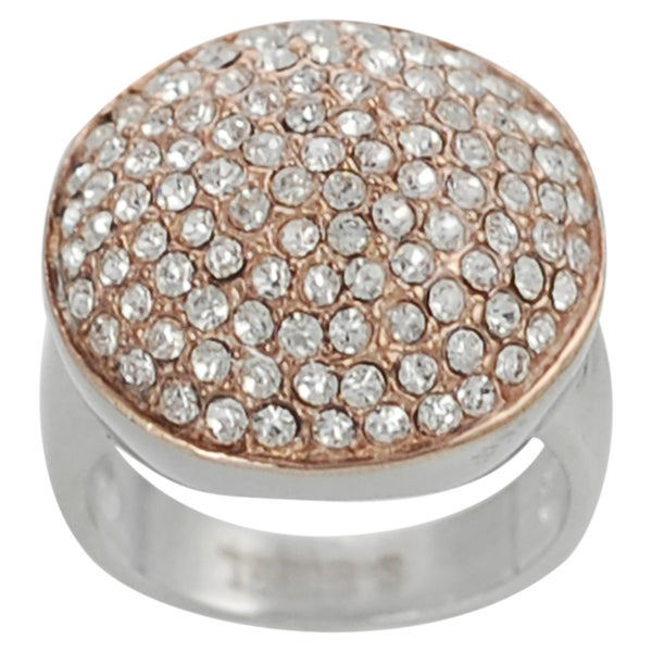 Journee Collection Coppertone Stainless Steel Cubic Zirconia Dome Ring