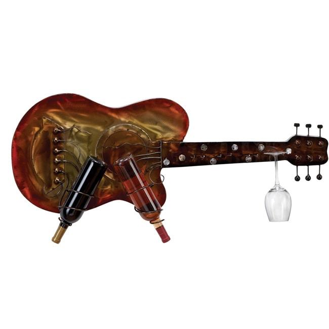 Kingston Wall Mounted Metal Guitar 2- Bottles Wine Rack and Wine Glass Holder