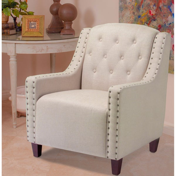 Christopher Knight Home Gabriel Tufted Dark Beige Fabric Club Chair