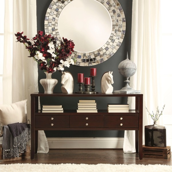 TRIBECCA HOME Ingleby Cherry 3-drawer Storage Sofa Table