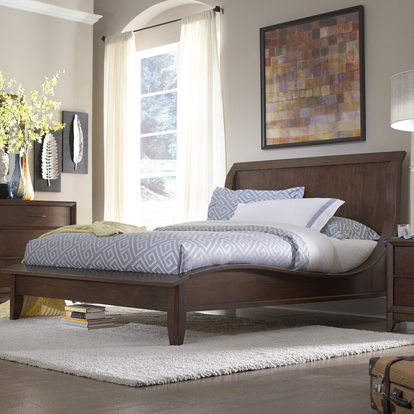 TRIBECCA HOME Lancashire Walnut Brown Curved Sleigh Queen-size Bed