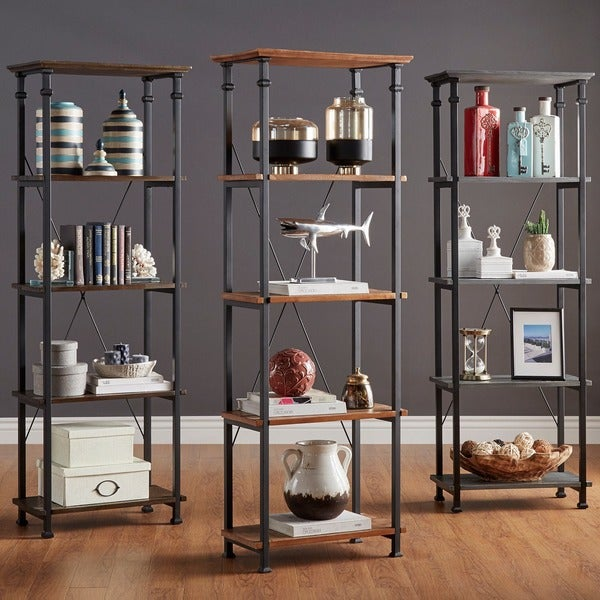 Myra Vintage Industrial Modern Rustic Bookcase by TRIBECCA HOME