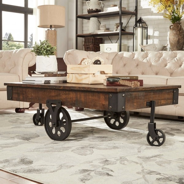 Myra vintage industrial modern rustic 47 inch coffee table for Homegoods industrial furniture